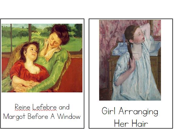 Mary Cassatt - Montessori Three Part Cards - Reading Classification