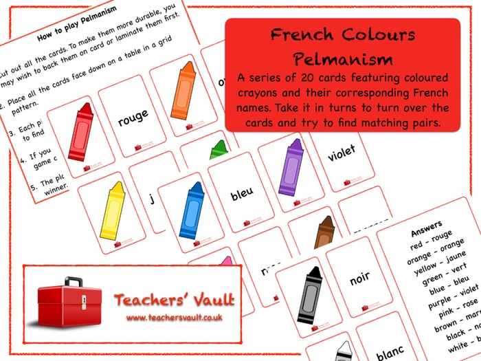 French Colours Pelmanism Game