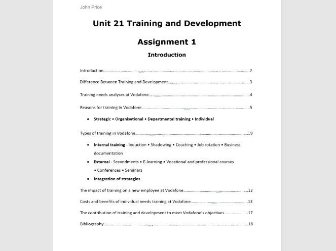Unit 21 Training and Development Assignment 1 Employee Development, Reasons, Benefits & Costs