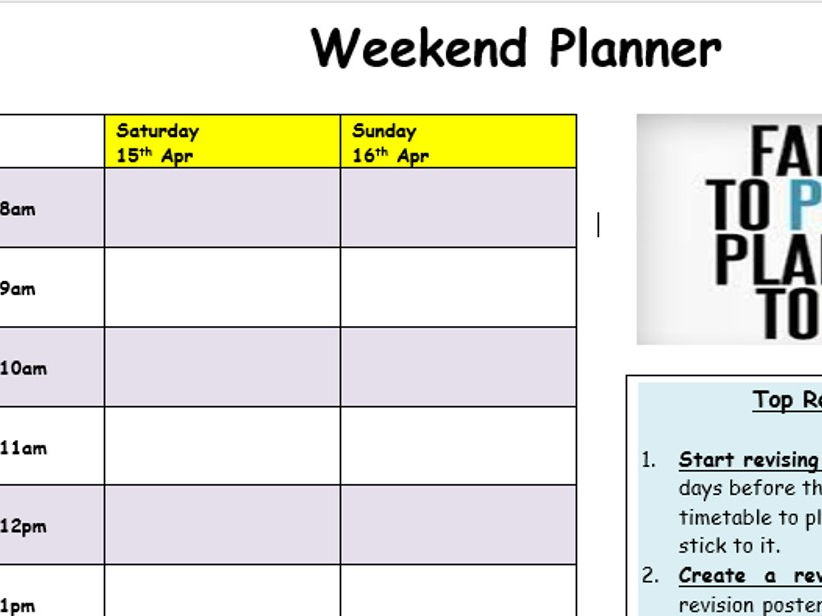 Revision & Study Planner template