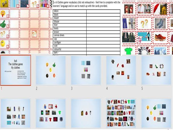 English 'clothes' dice game to describe pictures and practise speaking