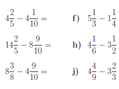 Mixed numbers worksheet (with solutions)