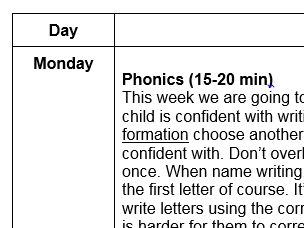 EYFS phonics and maths daily activities home learning phase 1 nursery