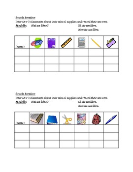Rifornimenti di scuola (School Supplies in Italian) Speaking activity