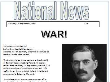 World War Two newspaper reports (differentiated)