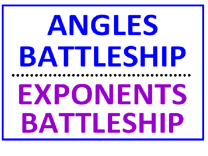 Angles Battleship PLUS Integers Battleship Using Greater Than Less Than (Both Sets)
