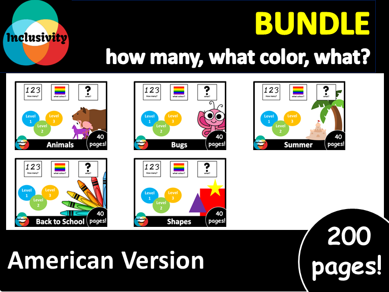 Adapted book bundle American Version HOW MANY, WHAT COLOR, WHAT? level 1, level 2 and level 3
