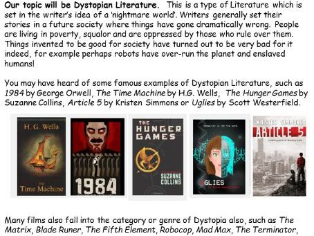 Year 9 Home Learning Pack - Dystopia