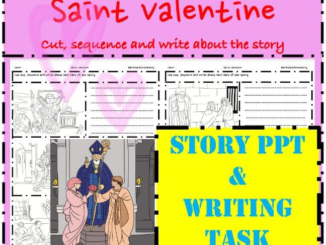 Saint Valentine's Day Life PPT story & Writing activity sequence retell cut paste