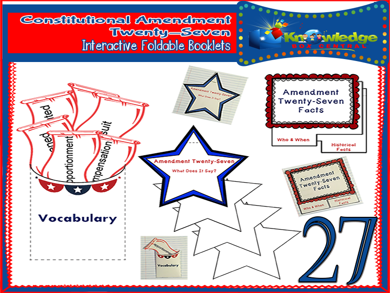 Constitutional Amendment Twenty-Seven Interactive Foldable Booklets