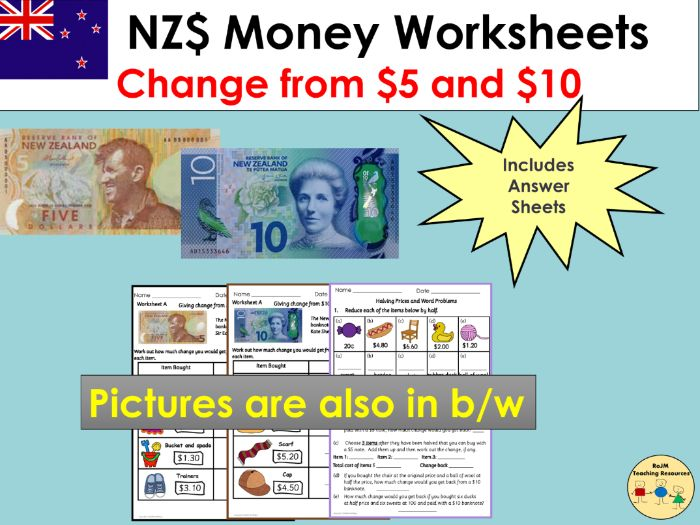 New Zealand Money Worksheets Giving Change and Word Problems