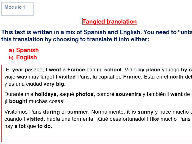 GCSE Spanish Tangled Translation Bundles Modules 1-4