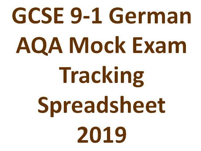 GCSE 9-1 German AQA Mock Exam Tracking Spreadsheet  2019