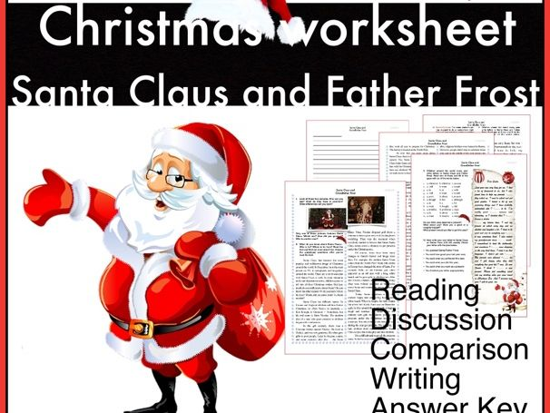 Santa Claus and Father Frost. Christmas worksheet. ESL/EFL