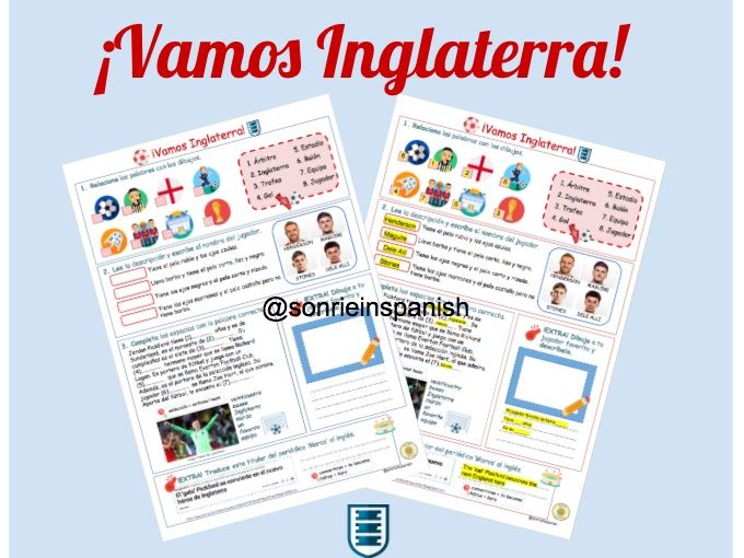 Spanish World Cup football England worksheet- Mundial Fútbol Inglaterra