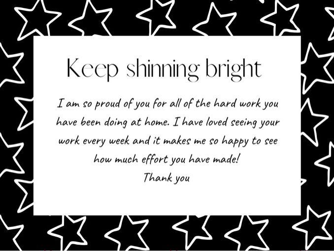 Keep shinning bright certificate