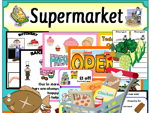 SHOP SUPERMARKET ROLEPLAY SET RESOURCES CLASSROOM DISPLAY EYFS KS1