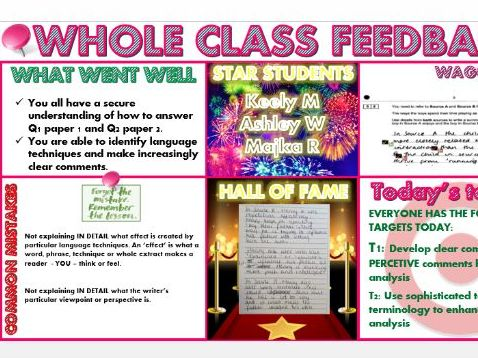 Whole Class Feedback Template - Assessment for Learning tool