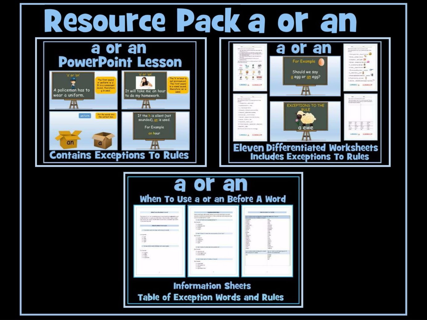 'a' or 'an' Resources - PowerPoint Lesson, 11 Worksheets, Information Sheets and Table of Exception Words