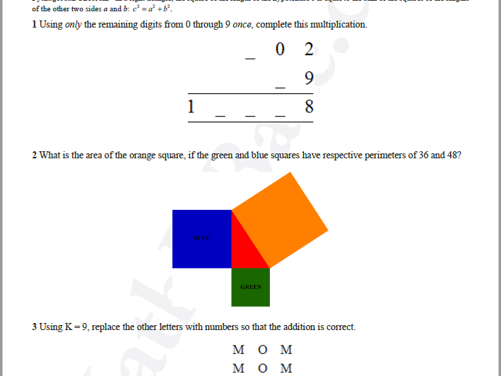 Brain Teasers Worksheet SD1 - Math probs & puzzles (Somewhat Difficult)