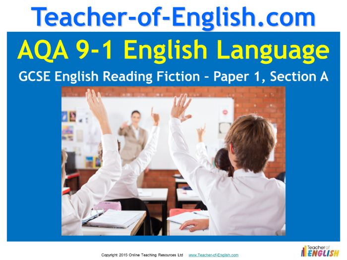 9-1 GCSE English AQA Reading Fiction - Paper 1 Section A (66 slide PowerPoint and 10 worksheets)