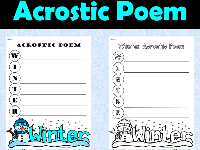Winter Acrostic Poem Template: Creative Writing Activity: Back to School, Fun