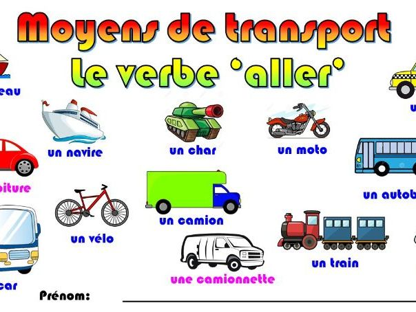 Primary French: Transport and the verb 'aller' (Key Stage 2)