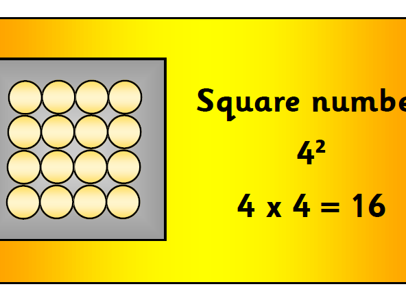 Square numbers array large display pack - times tables