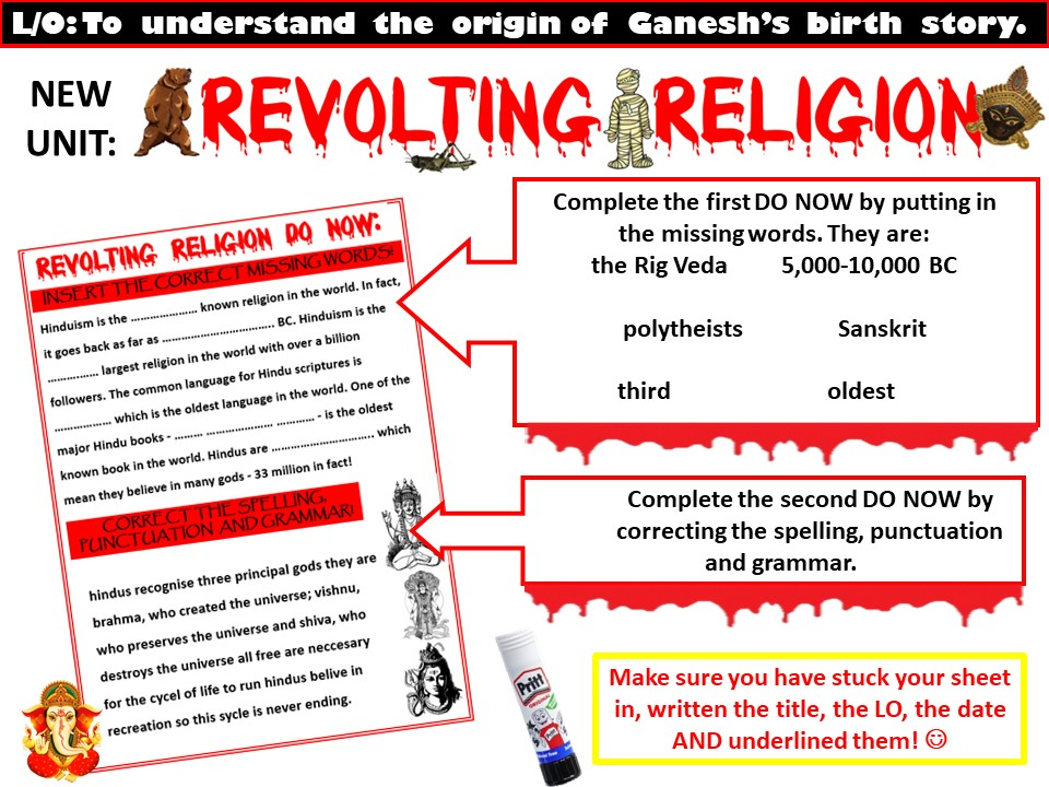 """Revolting Religion"" Year 7 RELIGIOUS EDUCATION LITERACY UNIT"