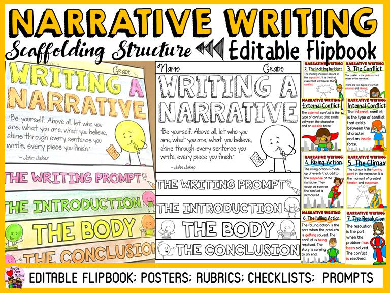 NARRATIVE WRITING: EDITABLE FLIPBOOK ORGANISER