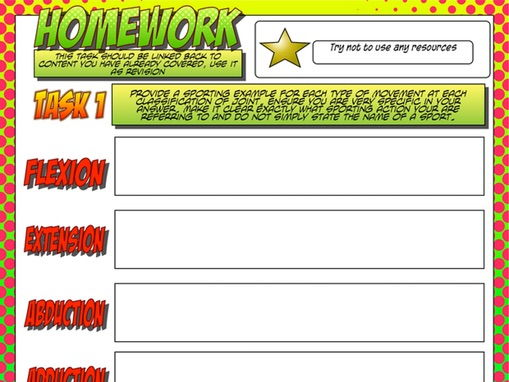 NEW GCSE PE – Unit 1 – Topic 1 – Lesson 3 - Joint Classification and Movement - STAR Homework