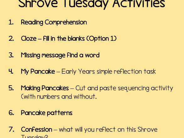 Shrove Tuesday Activity Pack