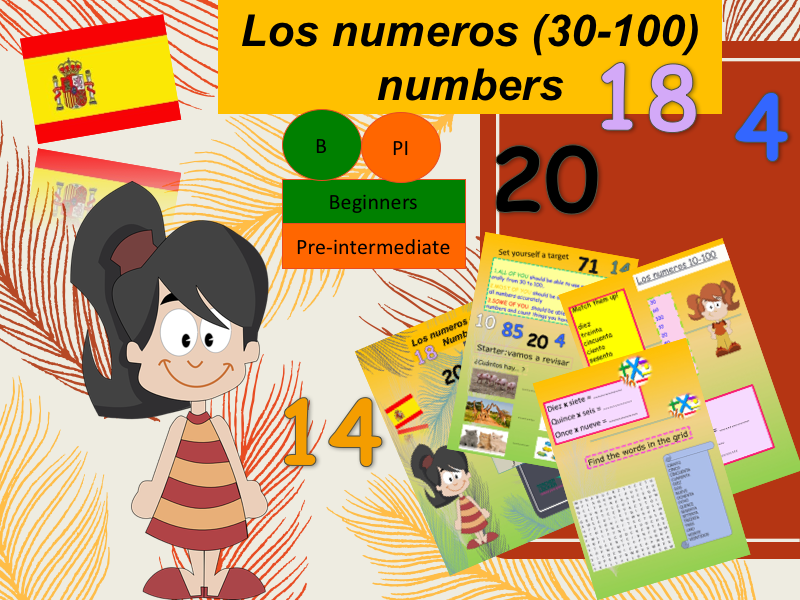 Spanish number 30 to 100 (lesson + Activities) / Los numerous 30 - 100