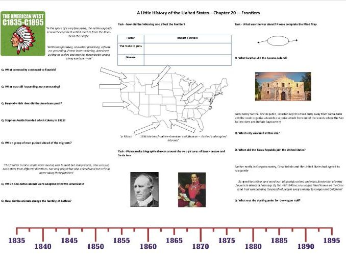 Frontiers- Worksheet to support J.W. Davidson's 'A Little History of the United States' Chp 20
