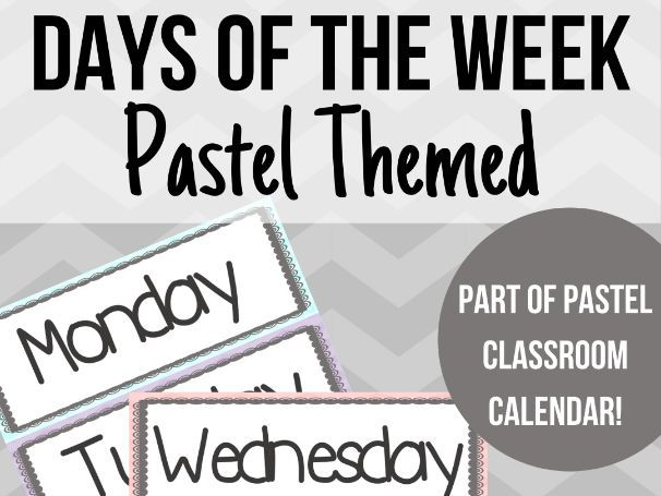 FREE Pastel Days of the Week Labels