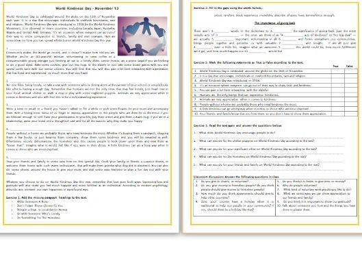 World Kindness Day - Reading Comprehension Worksheet / Text (November 13)