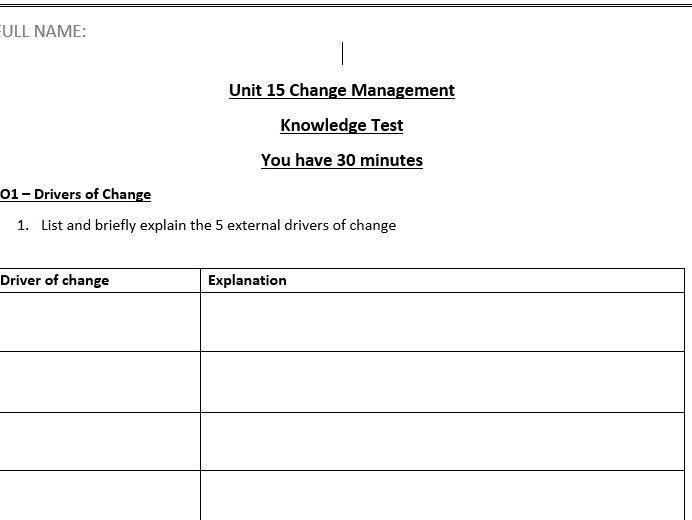 *New Spec* OCR Level 3 Business Unit 15 - Change Management Knowledge Test