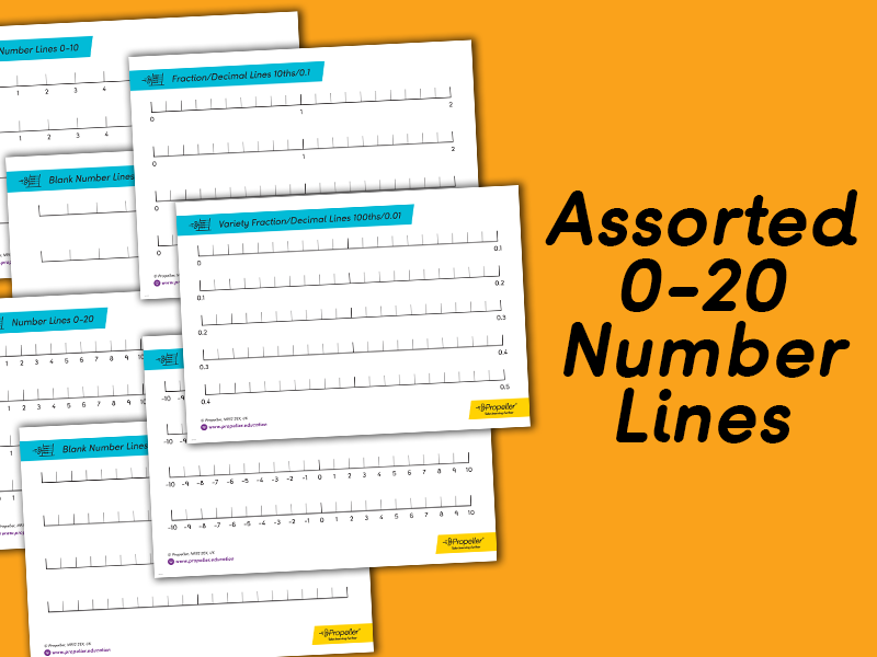 Bank of Number Lines Including Blank, 0-10, 0-20, Negative and  Fraction | KS1 & KS2
