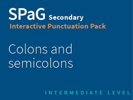 SPaG Secondary Interactive Punctuation Pack - Colons and semicolons (Intermediate Level)
