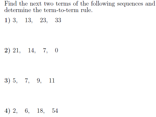 Sequences-determining the rule worksheet (with solutions)