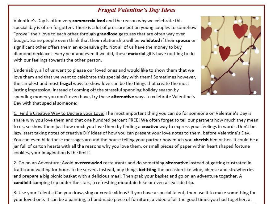 Frugal Valentine's Day Ideas - Reading Comprehension (text)