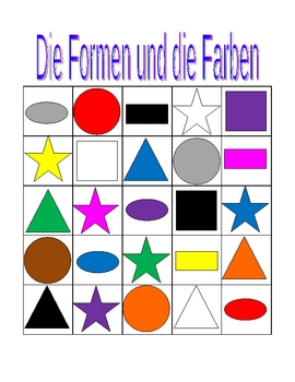 Farben und Formen (Colors and Shapes in German) Bingo game