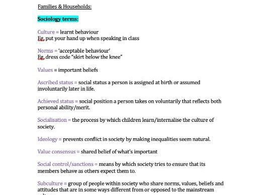 Families & Households Notes (AQA Sociology A-Level)