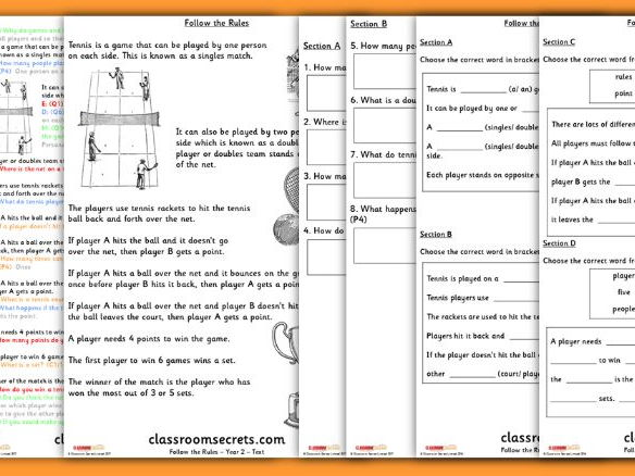 Year 2 Wimbledon Whole Class Guided Reading Comprehension Follow the Rules