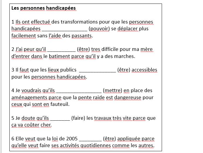 Les personnes marginalisées - sentences practising the subjunctive.