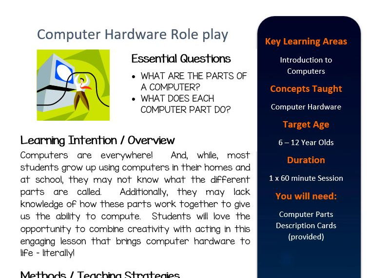 Computer Hardware Roleplay Activity