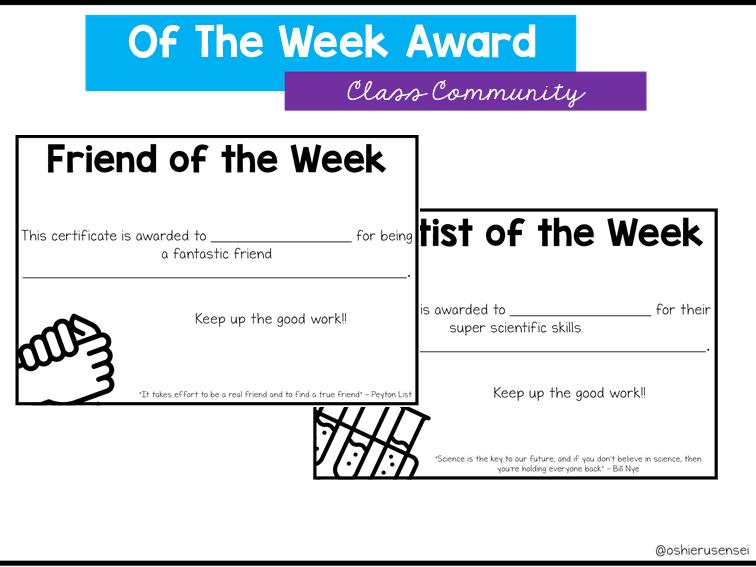 """of the week"" Certificates"