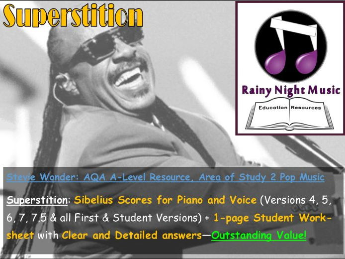 STEVIE WONDER - SUPERSTITION - Teaching & Learning Pack - AQA A Level Music - Area of Study 2: POP