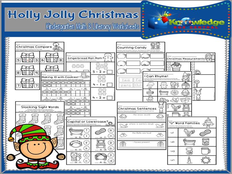 Holly Jolly Christmas Kindergarten Math & Literacy Worksheets