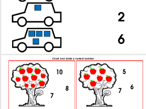 Numbers maths cards game and worksheet